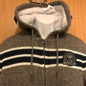 Buffalo David Button sweater hoodie mens med NWT